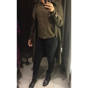 Zara Faux Suede Trench Jacket